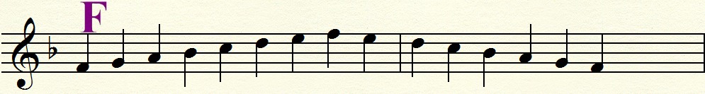 key of f major scale ascending and descending
